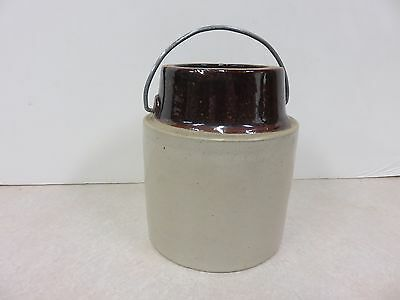 Vintage Crock With Brown Top And Wire Handle