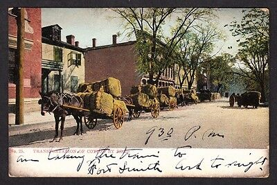 Transportation of Cotton by Road (Horse Drawn) Tinted Photo Postcard (1909)