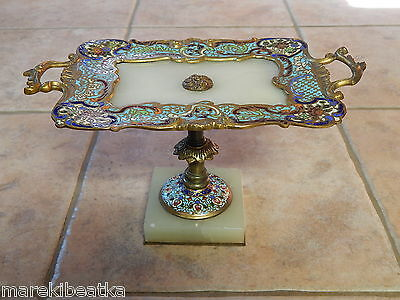 Antique French Champleve Gilt Bronze & Onyx  Tray, Tazza, Centerpiece