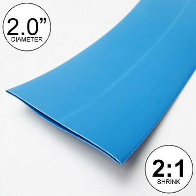 "(8 INCHES) 2.0"" Blue Heat Shrink Tubing 2:1 Ratio feet/foot/ft/to U.S.A 2"" 50mm"