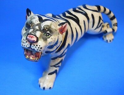 White Bengal Tiger Porcelain Figurine Gold Teeth green Eyes W8734 Lefton? 8.5""