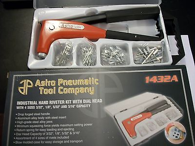 Astro Pneumatic Tool Industrial Hand Riveter Kit With Dial Head 1432A, 4 Sizes