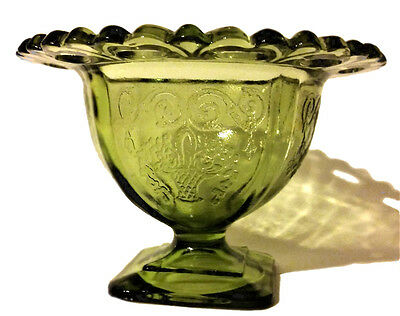Super Antique Vintage Victorian Ice Cream Cup Vase Bowl Glass Flower Basket Gree