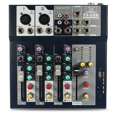 4 Channel Professional Stage Live Mixer With USB Interface Mixing Console