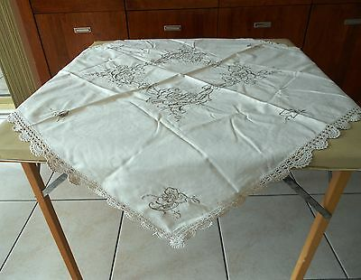 Vintage Cutwork And Embroidered Cream Linen Table Cloth With Crocheted Edge 86Cm