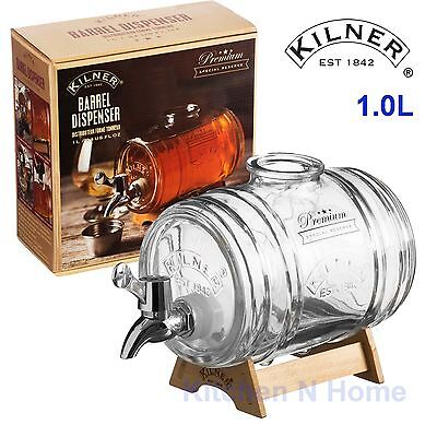 Kilner Barrel Dispenser 1L Glass,with wooden Stand, Whiskey, Liquor, Party drink