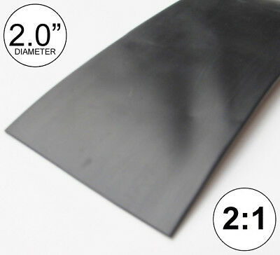 "2"" ID Black Heat Shrink Tube 2:1 ratio 2.0"" wrap (10 feet) inch/ft/to 50mm"