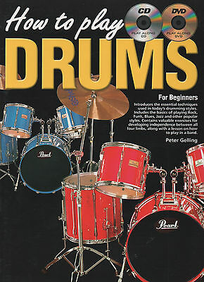 How to Play Drums for Beginners Music Book DVD & CD Drum Kit Tutor Learn Drumkit