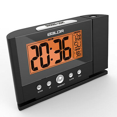 US PLUG Digital Snooze Alarm Clock Backlight Wall Projector Projection Clocks