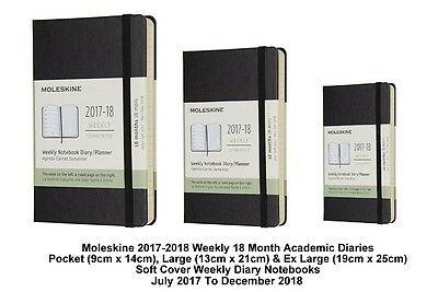 Moleskine 2017 2018 Academic Diary 18 Month Weekly Planner Black Soft Cover WTV