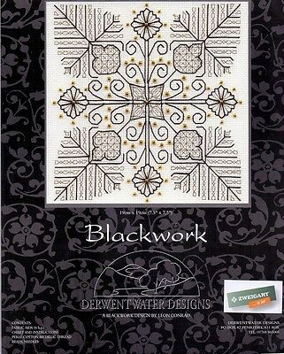 """Derwentwater Designs Blackwork """"'Flowers and Leaves"""" Counted Cross Stitch Kit"""