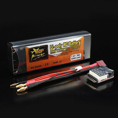 ZOP Power 7.4V 4200mAh 2S 35C Lipo Battery T Plug w/ Battery Alarm For RC Models