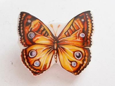 Vintage 1970's Ceramic Or Porcelain Butterfly Insect Bug Brooch - Russ