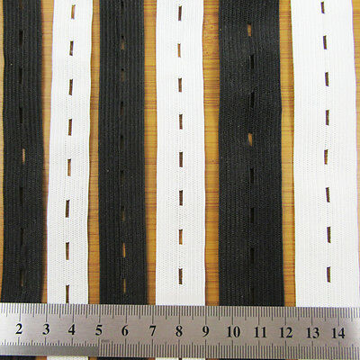 BUTTON HOLE WOVEN FLAT ELASTIC 16,19 & 25mm ADJUSTABLE STRETCHABLE WAISTBANDS