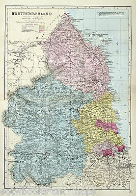 NORTHUMBERLAND  in the 1880's - Large Original Antique County Map - BACON .