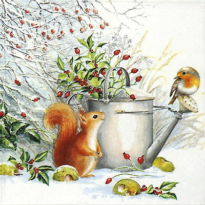 4x Paper Napkins - Red Squirrel and Robin - for Party, Decoupage Craft
