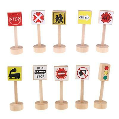 Wooden Set of Different Traffic Signs Kids Children Learning Educational Toy