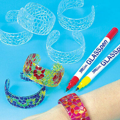Stained Glass Effect Acrylic Bangles for Kids to Paint & Design (Pack of 6)