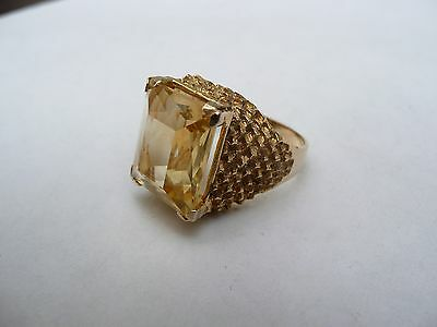 Fab Vintage Heavy Chunky Solid 9Ct Gold Large 9Ct Citrine Ring Size O 17.58 Mm