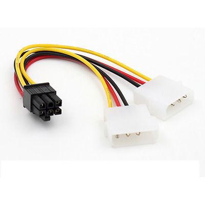 ATX IDE Molex Power Dual 4 To 6-Pin PCI Express PCIe Video Card Adapter Cable