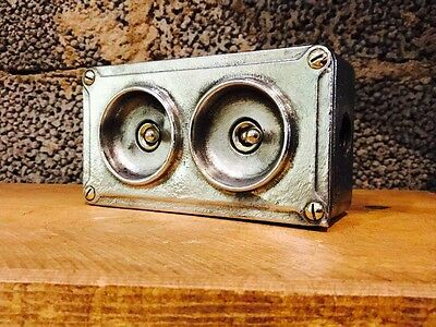 Vintage Industrial Crabtree 2 Gang Cast Iron Light Switch Restored Brass Toggle
