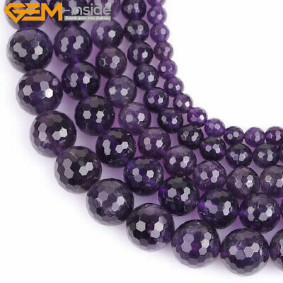 Natural AAA Grade Dark Purple Amethyst Round Beads Jewelry Making Strand 15""