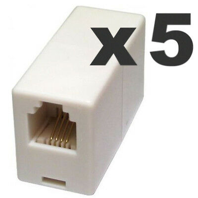 5 x RJ11 ADSL Broadband Cable Inline Joiner Female Couplers UK POST