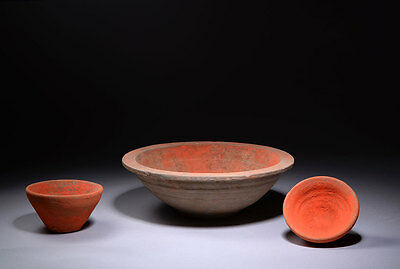 Three Ancient Chinese Han Dynasty Bright Orange Painted Pottery Vessels - 206 BC