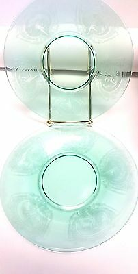 """Pair of Elegant Tiffin Glass Plate Dishes with Flying Nun Nymph 6.25"""" diameter"""