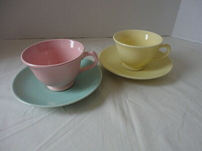 2 Vintage TS&T Lu-Ray Pastels Tea Cup & Saucer Yellow /Pink Wedding Shower Favor