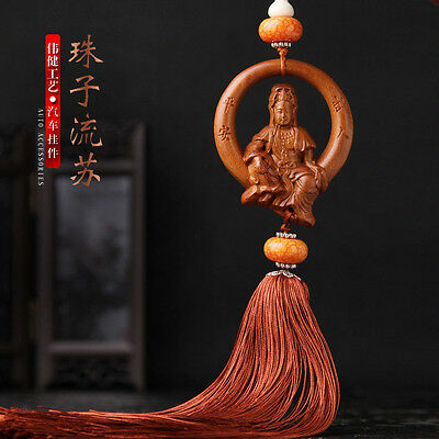 Chinese Freedom Kwan Yin Moon 3D Wood Carving Amber Beads Sculpture Car Pendant