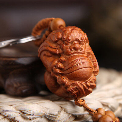 Lion Foo Fu Dog Wood 3D Carving Chinese Fengshui Pendant Key Chain Keyring Craft