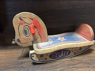 18903 Vintage 1950's Childs Spotty  Wooden Wood  Rocking Horse  ~  Riding Toy