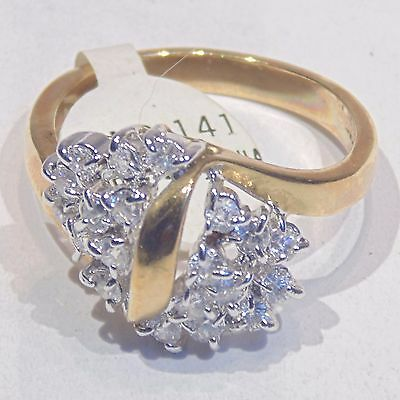 Cubic zirconia 18KT gold electroplate, silver tone ring, size 7, NOS with tag