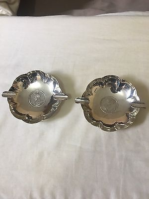 A Pair Of Solid Sterling Silver Ashtrays With Scalloped Rim