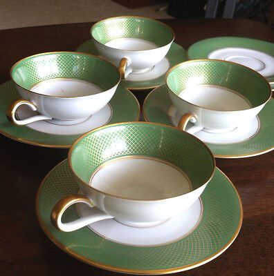 H & Co Selb Bavaria Heinrich Germany Green Gold 4 Tea Cups 6 Saucers Rare Set