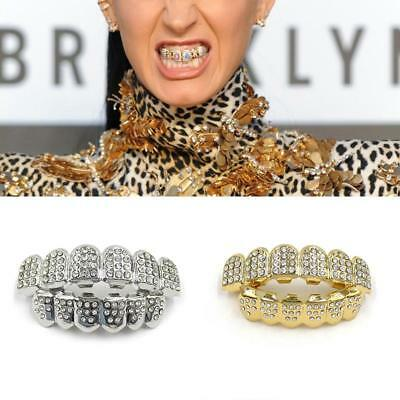 14K Gold Teeth Grillz Top Bottom Iced Out CZ Hip Hop Tooth Cap Grill Set