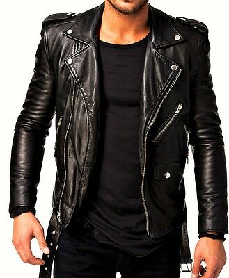 New Mens Leather Jacket Black Slim Fit Biker Motorcycle Genuine Lambskin