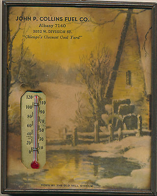 Vintage Albany, IL Advertising Framed Thermometer & Scene Collins Fuel Co.
