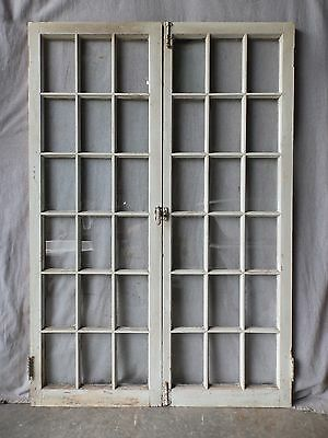 Antique French Door Window Cabinet Cupboard Casement Vintage Shabby 62x22 78-17P
