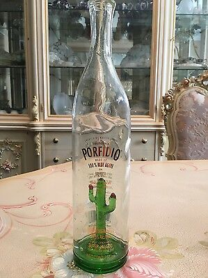 Porfidio Blue Agave Anejo Extra Tequila Collectible Handblown Cactus Bottle