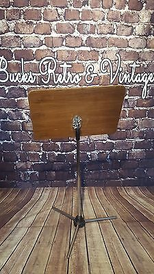Vintage Retro Mid Century Chrome Wooden Menu Music Stand Drawing Picture Board