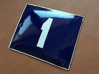 ANTIQUE VINTAGE ENAMEL SIGN HOUSE NUMBER 1 BLUE DOOR GATE STREET SIGN 1950's