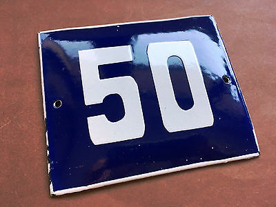 ANTIQUE VINTAGE ENAMEL SIGN HOUSE NUMBER 50 BLUE DOOR GATE STREET SIGN 1950's