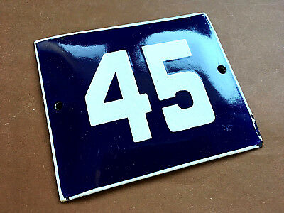 ANTIQUE VINTAGE ENAMEL SIGN HOUSE NUMBER 45 BLUE DOOR GATE STREET SIGN 1950's