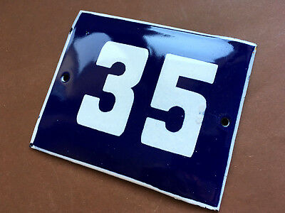 ANTIQUE VINTAGE ENAMEL SIGN HOUSE NUMBER 35 BLUE DOOR GATE STREET SIGN 1950's