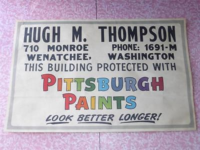 """Vtg Pittsburgh Paints Advertising Store Display Sign Duckine Rare 22"""" X 34""""  Vgc"""