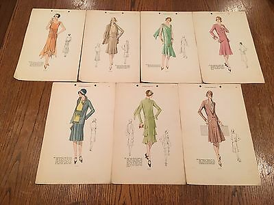 7 Vintage 1920's Flapper French Colored Fashion Sketches Le Croquis Original