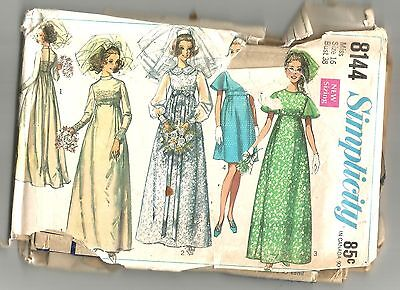 8144 Simplicity Sewing Pattern Wedding Gown Bridesmaids Dress Vintage 1960s