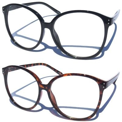OVERSIZE CLEAR LENS GLASSES Retro Fashion Womens Eyewear Big Rounded Oval Frame
